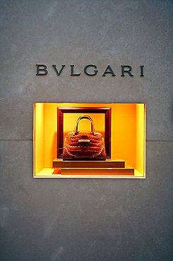 Bulgari shop window, Via della Spiga 6 , Milan, Lombardy, Italy, Europe