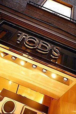 Tod's sign, Via della Spiga 22  street, Milan, Lombardy, Italy, Europe