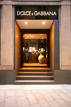 Dolce & Gabbana fashion shop, Via della Spiga 26 street, Milan, Lombardy, Italy, Europe