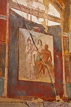 fresco of Herculaneum, a large Roman town destroyed in 79AD by a volcanic eruption from Mount Vesuvius, UNESCO World Heritage Site, Ercolano, Naples, Campania, Italy, Europe