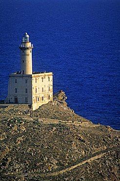 Lighthouse, Punta Scorno, Asinara island, Sardinia, Italy