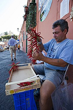 Chili streed dealer, Ponza Island, Pontine Islands, Lazio, Italy