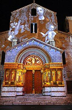 France, Provence, Arles, St.Trophine church in Place de la Republique, lights by night