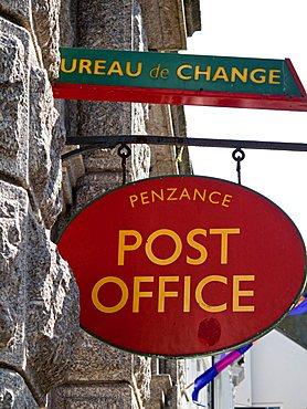 Post sign, Penzance, Cornwall, England, Great Britain