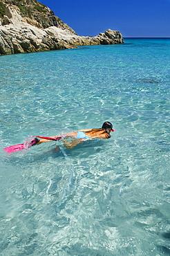 Snorkeling, Cala Pisano, Villasimius, Sinnai, Provincia di Cagliari, Sardinia, Italy, Europe