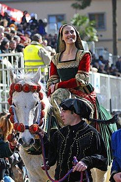 Featuring Eleonora d'Arborea queen, Sartiglia feast, Oristano, Sardinia, Italy, Europe