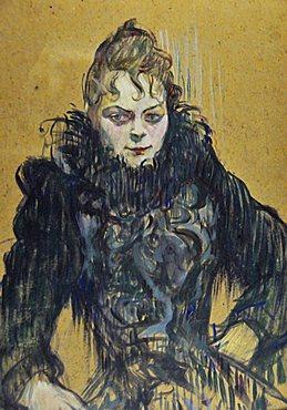 Woman with a black boa, Henri de Toulouse-Lautrec, Musee d'Orsay, Paris, Ile-de-France, France, Europe
