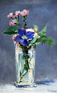 Carnations and Clematis in a Crystal Vase, edouard Manet, Musee d'Orsay, Paris, Ile-de-France, France, Europe