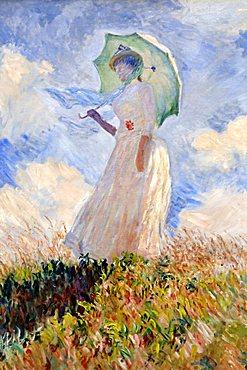 Woman with a Parasol, Claude Monet, Musee d'Orsay, Paris, Ile-de-France, France, Europe