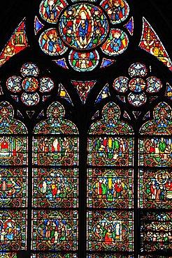 Stained glass window, Notre Dame Cathedral, Ile de la Cite, Paris, Ile-de-France, France, Europe
