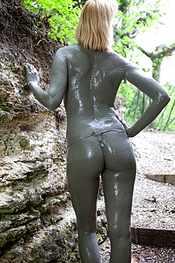 Body mud treatments, Terme Bagni San Filippo, Castiglione d'Orcia, Siena, Tuscany, Italy, Europe, Europe