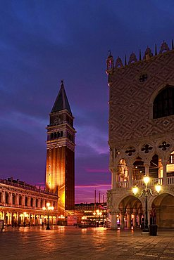 Palazzo Ducale palace and Piazza San Marco square at the dusk, Venice, Veneto, Italy, Europe