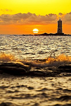 Rock and lighthouse Mangiabarche, Calasetta (CI), Sardinia, Italy, Europe