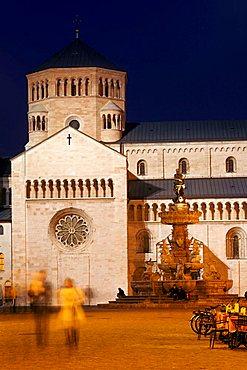 San Vigilio church and Nettuno fountain, Piazza Duomo,Trento, Trentino Alto Adige, Italy