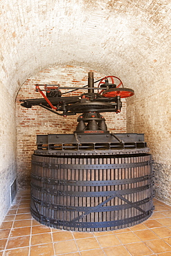 Contratto wine producer in Canelli, an ancient wine press Marmonier for a soft pressure of Moscato and Pinot grapes, Asti, Piedmont, Italy, Europe