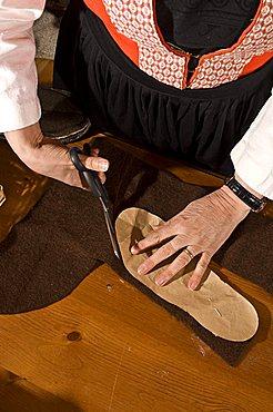 Slippers (Socka), Handicraft, Aosta, Gressoney-St-Jean, Valle d'Aosta, Italy, Europe