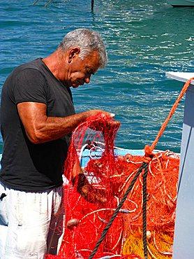 Fisherman, Otranto, Salento, Apulia, Italy, Europe