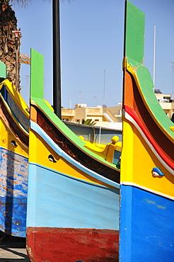 Luzzu traditional type of fishing boat, Marsaxlokk, Malta, Europe