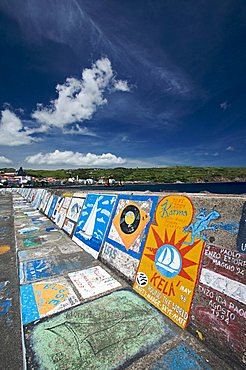 Murals in port of Horta, Fajal, Azores Island, Portugal, Europe