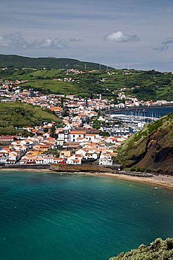 View of Horta from Monte de Guia, Porto Pim, Fajal, Azores Island, Portugal, Europe