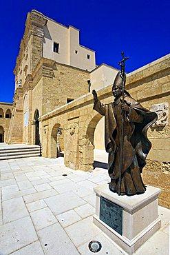 Pope statue, De Finibus Terrae sanctuary, Santa Maria di Leuca, Salento, Apulia, Italy