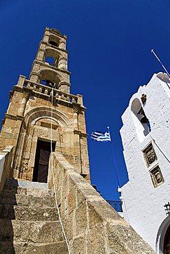 The belltower of Panagia Church, Lindos, Dodecanese, Rhodes Island, Greek Island, Greece, Europe