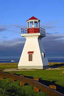Lighthouse, bird sanctuary in the bay, Carleton, South Coast, Gaspe peninsula, Quebec, Canada, North America
