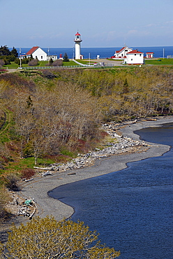 Lighthouse, Riviere Madeleine, East Coast, Gaspesie, Gaspe peninsula, Quebec, Canada, North America