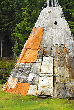 Tepee traditional conical tent made of animal skins by Native Americans, Reserve Faunique Assinica, Quebec, Canada
