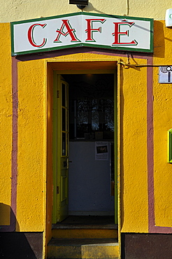 Cafe sign, Kinvarra, West Coast, County Galway, Republic of Ireland, Europe
