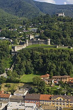 town partial view and castles, bellinzona, switzerland
