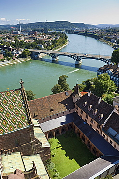 town view and rhine river, basel, switzerland