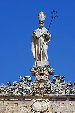 San Gregorio statue on the top of Sedile palace, Salandra square, Nardv=, Salentine Peninsula, Apulia, Italy