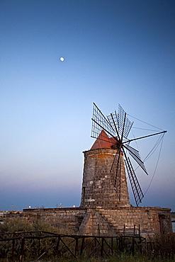 Windmill, salt works, Trapani, Sicily, Italy, Europe