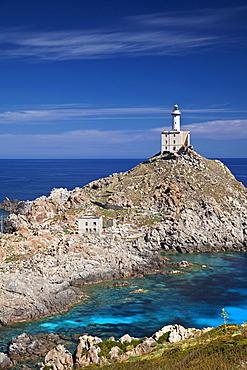 Punta Scorno lighthouse, Asinara island, Porto Torres, Sardinia, Italy, Europe