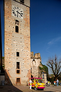 ice cream and tower at Castellaro Lagusello, Lombardia, Italy, Europe