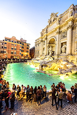 Trevi Fountain illuminated after restoration, Rome, UNESCO, World Heritage Site, Lazio, Italy, Europe