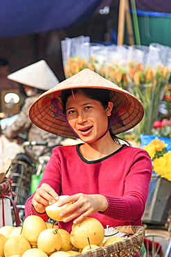 Womand selling fruits in a street market of Hoàn Kiếm, the old quarter of Hanoi, Hanoi, Vietnam, Indochina, Southeast Asia, Asia