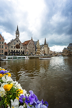 View from the canals during afternoon, Gent, Belgium, Europe