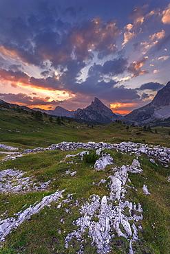 Clouds and light over the Sass de Stria during a beautiful sunsetFalzarego Pass, Cortina d'Ampezzo, Veneto, Italy, Europe