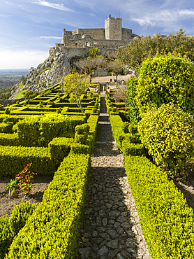 The castle dating back to moorish times in the middle ages.  Marvao a famous medieval mountain village and tourist attraction in the Alentejo.  Europe, Southern Europe, Portugal, Alentejo