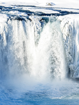 Godafoss one of the iconic waterfalls of Iceland during winter. europe, northern europe, iceland,  March