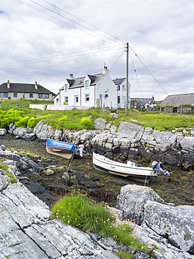 Isle of Berneray (Bearnaraidh), a small island located in the sound of Harris at the nothern tip of North Uist. The village on Berneray. Europe, Scotland, June
