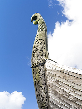 The island of Unst, Replica of a viking vessel near Haroldswick. The ship was sailed from Sweden to Shetland in the year 2000 and is now owned by the Shetland Amenity Trust and is part of the  Viking Unst Project.  europe, central europe, northern europe, united kingdom, great britain, scotland, northern isles,shetland islands, May