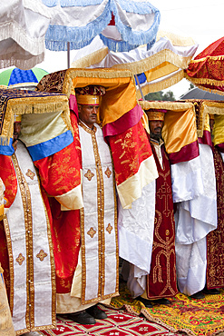 Priests with tabot on their head, Groups of dancers and musicans are celebrating timkatTimkat cerimony of the ethiopian orthodox church, Timkat procession is entering the jan meda sports ground in Addis Ababa, where the three day cerimony takes place, Timkat  is also the celebration of the baptism of Jesus, for this purpose sacred water is distributed, Africa, East Africa, Ethiopia, Addis Ababa, Africa, East Africa, Ethiopia, Addis Ababa