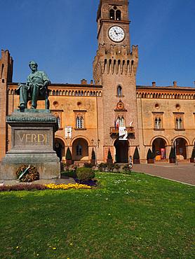 Piazza Giuseppe Verdi square and The Rocca Pallavicino castle, historical center, Busseto, Emilia Romagna, Italy, Europe