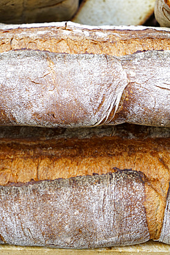 Traditional bread, weekly street food market, Vigevano, Lombardy, Italy, Europe