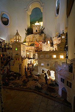 Christmas crib, Chiesa di San Francesco church, built at the end of the thirteenth century (1275), it stands on the highest place in the city (225 m above sea level), where it was certainly a Roman temple, Bevagna, Umbria, Italy, Europe