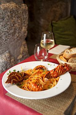 Spaghetti pasta with lobster and tomato sauce, Restaurant Terranova, Propriano, Corsica, France, Europe