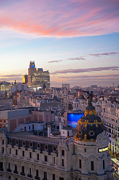Metropolis Building and Telefonica Building, View from Terrace Circulo de Bellas Artes Azotea, Madrid, Spain, Europe